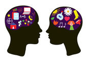 Brains of man and woman thinking concept