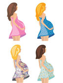 Pregnant women in fashion dresses — Stock Vector