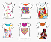 T-shirts design templates with funny paintings — Stock Vector