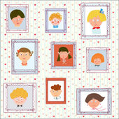 Kids portraits on the wall gallery — Stock Vector