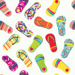 Summer flip flops seamless pattern funny — Stock Vector