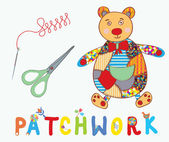 Patchwork background with teddy bear, needle — Vettoriale Stock