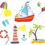 Sea icons set funny — Stock Vector