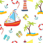 Summer sea seamless with yacht funny — Stock Vector