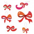 Bows set in red colors funny — Stock Vector