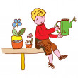 Kid watering flowers at home — Stock Vector #29837079