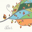 Autumn card with tree and leaves — Stock Vector