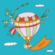 Hot air balloon greeting card — Stock Vector