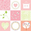 Baby cards set cute design with patterns — Stock Vector #29837087