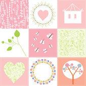 Bebé tarjetas configuradas lindo diseño con patrones — Vector de stock