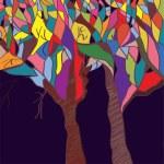 Autumn trees background — Stock Vector