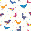 Birds funny seamless pattern whimsical — Stock Vector #30387821