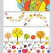 Stock Vector: Autumn horizontal banners set