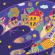 Greeting card with cat and night town — Stock vektor
