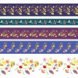 Autumn borders design set with flowers — Vector de stock