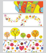 Autumn horizontal banners set — Stock Vector