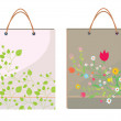 Bags template with leaves and flowers  — Stock Vector