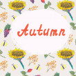 Autumn background template with pattern — Stock Vector