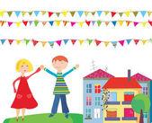 Crianças no desenho animado feriado com bandeiras — Vetorial Stock