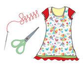 šicí sada s jehla, nůžky a šaty — Stock vektor