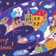 Christmas greeting card with town and cat — Vector de stock