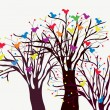 Greeting card with trees and birds — Imagen vectorial