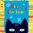 Christmas card with cat and frame — Stock Vector