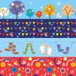 Christmas banners with decorations, trees, socks, patterns — Stock Vector