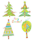 Christmas trees set funny design — Stock Vector