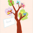 Greeting card with tree and banner for child — Stock Vector