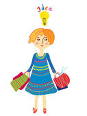 Girl shopping with idea light bulb — Stock Vector