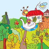 Kid drawing landscape, house, trees from fairytale — Stock Vector