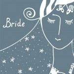 Wedding invitation with bride — Stock Vector