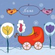 Baby card with pram for winter — Vector de stock