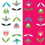 Tulips seamless pattern set simple — Stock Vector