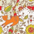 Floral seamless ethnic pattern with cat, fish — Stock Vector