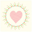 Valentine card with heart and floral frame — Image vectorielle