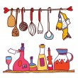 Kitchen and wine accesorries funny design — Stock Vector