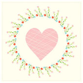 Valentine card with heart and floral frame — Stockvektor