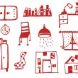 Furniture icons set funny — Stock Vector #37039345
