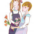图库矢量图片: Girls with flowers cute sketch