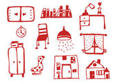 Furniture icons set funny — Stock Vector