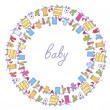 Baby laundry cute frame round — Stock Vector