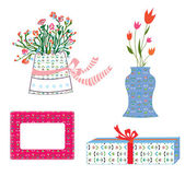 Presents boxes and flowers holidays — Stock Vector