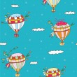 Stock Vector: Hot air balloon seamless pattern - funny travel