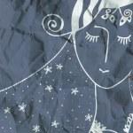 Fashion woman card hand drawn design — Stock Photo
