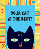 Best cat funny greeting card — Stock Vector