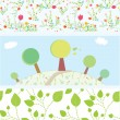 Spring banners with flowers, trees, leaves, patterns — Stock Vector