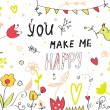 You make me happy greeting card floral — Stock Vector #41488777