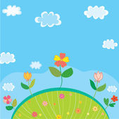 Cute landscape for kids with flowers — Stock Vector